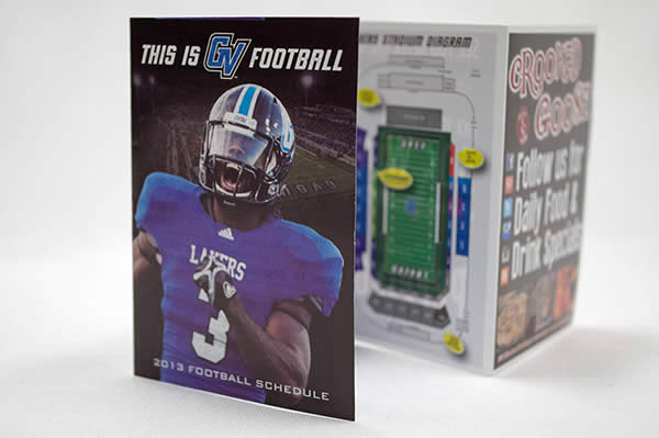 Grand Valley State University 2013 pocket schedule printing example
